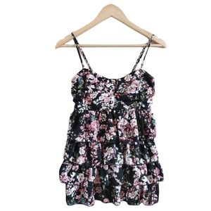 Warehouse One Floral Spaghetti Strap Blouse Top S